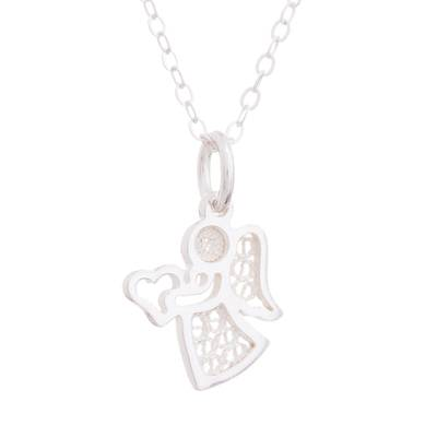 Sterling silver pendant necklace, 'Love and Harmony' - Sterling Silver Filigree Angel Pendant Necklace from Peru