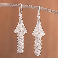 Sterling silver filigree waterfall earrings, 'Dancing Bells' - Sterling Silver Filigree Bell Waterfall Earrings from Peru