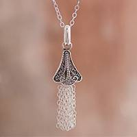 Sterling silver filigree pendant necklace, 'Dark Dancing Bell' - Oxidized Sterling Silver Filigree Bell Pendant Necklace