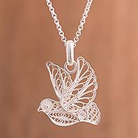Sterling silver filigree pendant necklace, 'Peace and Grace' - Handcrafted Sterling Silver Filigree Dove Pendant Necklace