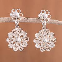 Sterling silver filigree dangle earrings, 'Exquisite Blossom' - Handcrafted Sterling Silver Filigree Flowers Dangle Earrings