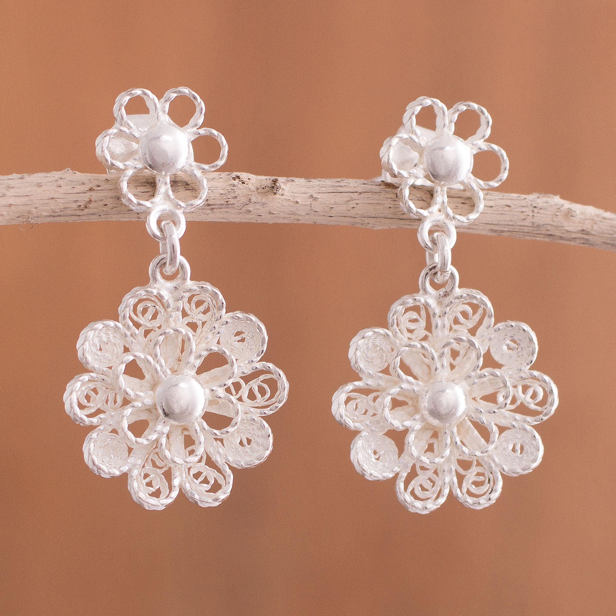 Sterling Silver Filigree Earrings Dangle Drop Earrings  Floral Flower Design