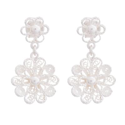 Sterling silver filigree dangle earrings, 'Exquisite Blossom' - Handcrafted Sterling Silver Filigree Flowers Dangle Earrings