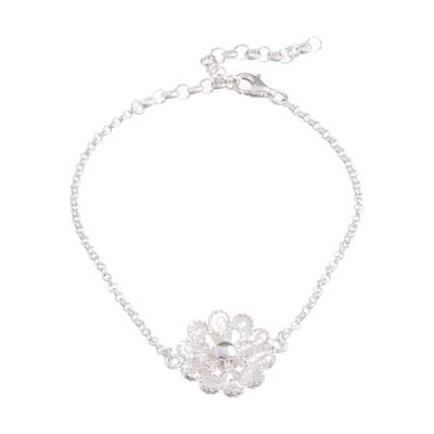 Sterling silver pendant bracelet, 'Exquisite Blossom' - Handcrafted Sterling Silver Filigree Flower Pendant Bracelet