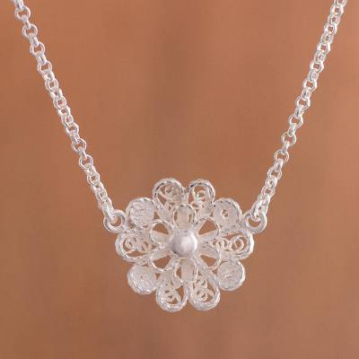 Sterling silver filigree pendant necklace, 'Exquisite Blossom' - Handcrafted Sterling Silver Filigree Flower Pendant Necklace