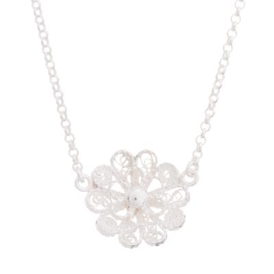 Sterling silver filigree pendant necklace, 'Exquisite Blossom' - Handcrafted Sterling Silver Filigree Flower Pendant Necklace