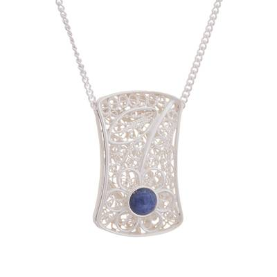 Reversible onyx and sodalite filigree pendant necklace, 'Day to Night Elegance' - Reversible Sodalite Onyx Sterling Silver Pendant Necklace