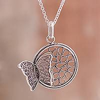 Sterling silver filigree pendant necklace, 'Captivating Butterfly' - Sterling Silver Filigree Butterfly Necklace from Peru