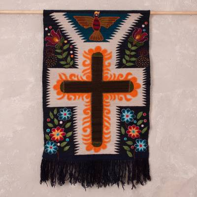 Wool tapestry, 'Mystic Cross' - Handwoven Wool Cross Tapestry from Peru