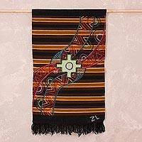 Wool tapestry, 'Chakana Dimensions' - Handwoven Wool Chakana Cross Tapestry from Peru