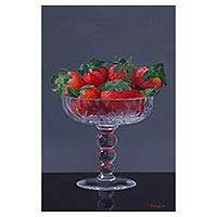 'Purity of the Crystal' - Signed Realist Painting of a Strawberry Bowl from Peru