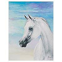 'King of the Snow' - Signed Watercolor Painting of a White Horse from Peru