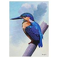 'Colors of Heaven' - Signed Watercolor Painting of a Kingfisher from Peru