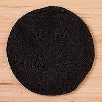 100% alpaca beret, 'Parisian Andes in Black' - Knit 100% Alpaca Wool Beret in Black from Peru