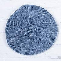 100% alpaca beret, 'Parisian Andes in Cadet Blue' - Knit 100% Alpaca Wool Beret in Cadet Blue from Peru