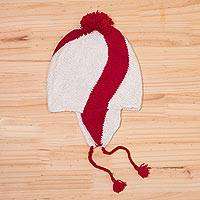 Baby alpaca chullo hat, 'Andean Crimson' - Baby Alpaca Chullo Hat in Crimson and While