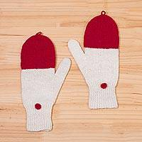 Baby alpaca mittens, 'Crimson Mountains' - Baby Alpaca Mittens in Crimson and White from Peru