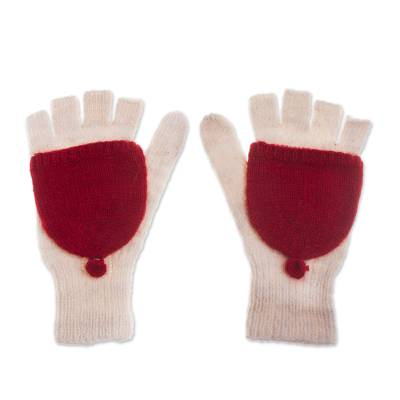 Baby Alpaca Mittens in Crimson and White from Peru