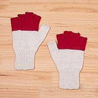 100% baby alpaca fingerless gloves, 'Crimson Peaks' - Baby Alpaca Fingerless Gloves in Crimson and Eggshell