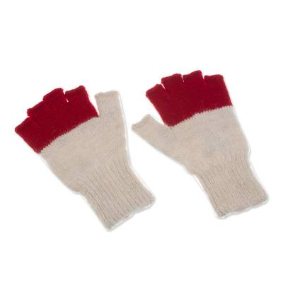 Baby Alpaca Fingerless Gloves in Crimson and Eggshell