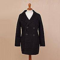 100% baby alpaca reversible coat, 'Night to Remember in Black' - 100% Baby Alpaca Coat in Black and Slate from Peru