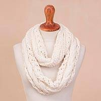 Alpaca blend infinity scarf, 'Andean Swirl in Warm White' - Hand-Knit Alpaca Blend Infinity Scarf in Warm White