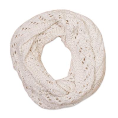 Alpaca blend infinity scarf, 'Andean Swirl in Warm White' - Hand-Knit Alpaca Blend Infinity Scarf in Warm White