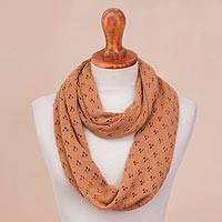 Alpaca blend infinity scarf, 'Andean Eyelets in Tan' - Knit Alpaca Blend Infinity Scarf in Tan from Peru