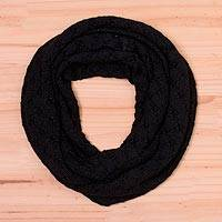 Alpaca blend infinity scarf, 'Andean Eyelets in Black' - Knit Alpaca Blend Infinity Scarf in Black from Peru