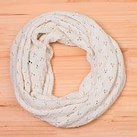 Alpaca blend infinity scarf, 'Andean Eyelets in Snow White' - Knit Alpaca Blend Infinity Scarf in Snow White from Peru
