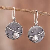 Sterling silver dangle earrings, 'Modern Universe' - Modern Sterling Silver Dangle Earrings from Peru