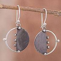 Sterling silver dangle earrings, 'Modern Cosmos' - Circular Modern Sterling Silver Dangle Earrings from Peru