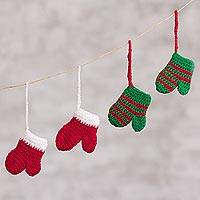 Crocheted ornaments, 'Christmas Mittens' (set of 4) - Mitten-Shaped Crocheted Ornaments from Peru (Set of 4)
