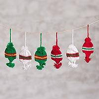 Crocheted ornaments, 'Andean Chullos' (set of 6) - Gorro-Shaped Crocheted Ornaments from Peru (Set of 6)