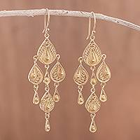 Gold plated sterling silver filigree dangle earrings, 'Gold Sunrise Dew'