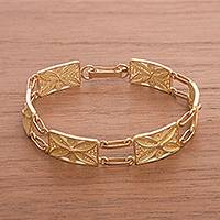 Gold plated sterling silver filigree link bracelet, 'Gold Butterfly Daisy'