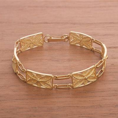 Gold plated sterling silver filigree link bracelet, 'Gold Butterfly Daisy' - 24k Gold Plated Sterling Silver Filigree Link Bracelet