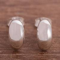 Sterling silver stud earrings, 'Canoe Voyage' - Oval Sterling Silver Stud Earrings from Peru