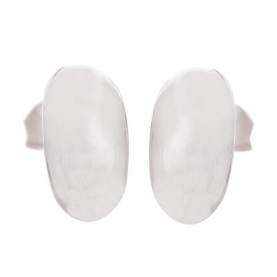 Sterling silver stud earrings, 'Canoe Voyage' - Oval Sterling Silver Stud Earrings from Peru
