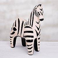 Ceramic sculpture, 'Chulacanas Zebra' - Hand-Painted Ceramic Zebra Sculpture from Peru