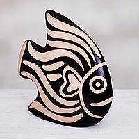 Ceramic sculpture, 'Chulacanas Fish' - Hand-Painted Ceramic Fish Sculpture from Peru