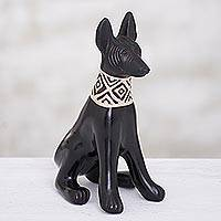 Ceramic sculpture, 'Peruvian Dog' - Hand-Painted Ceramic Dog Sculpture from Peru