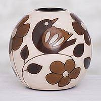 Ceramic decorative vase, 'Slice of Nature' (6 in.) - Floral and Bird Motif Ceramic Decorative Vase (6 in.)