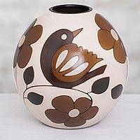 Ceramic decorative vase, 'Slice of Nature' (7.75 in.) - Floral and Bird Motif Ceramic Decorative Vase (7.75 in.)
