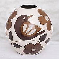 Ceramic decorative vase, 'Slice of Nature' (9.75 in.) - Floral and Bird Motif Ceramic Decorative Vase (9.75 in.)