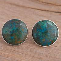 Chrysocolla clip-on earrings,