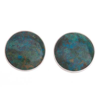 Chrysocolla clip-on earrings, 'Earth's Depths' - Round Chrysocolla Sterling Silver Clip-On Button Earrings