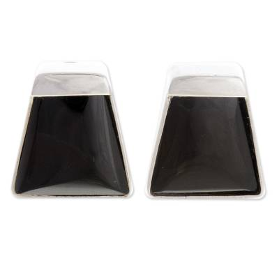 Obsidian Sterling Silver Trapezoid Clip-On Button Earrings