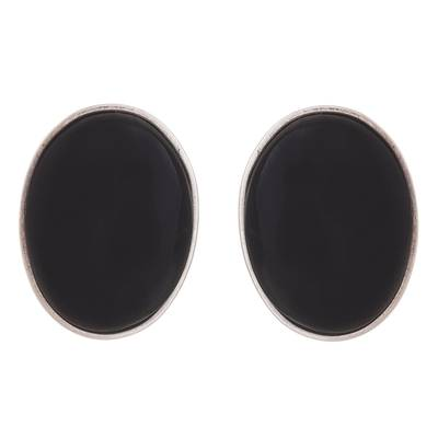 Oval Obsidian and Sterling Silver Clip-On Button Earrings