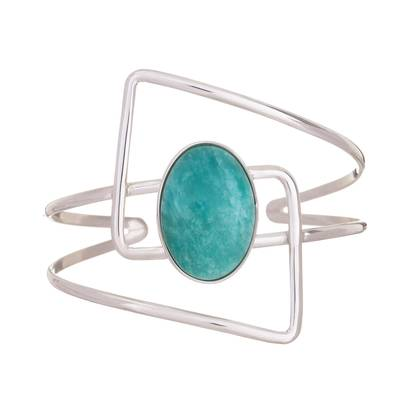 Amazonite and Sterling Silver Modern Abstract Cuff Bracelet